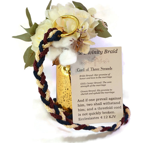 Divinity Braid Burgundy Navy Cord of Three Strands #Wedding #CordofThree