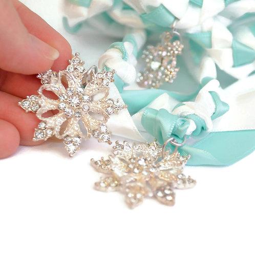 OOAK Limited Edition 3 charm Rhinestone Snowflake Wedding Handfasting Cord V2