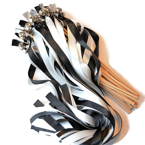 25 Black & Off White Ribbon Bell Wedding Wands #Wedding