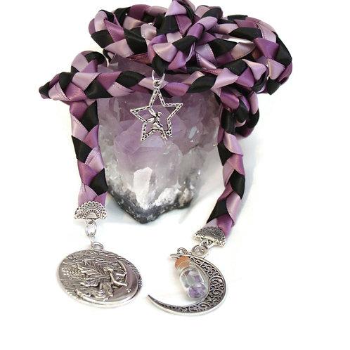 3 Charm  Amethyst Fairy Moon Wedding Handfasting 6ft Cord #Wedding