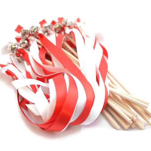 25 Red & White  Ribbon Bell Wedding Wands #WeddingWands