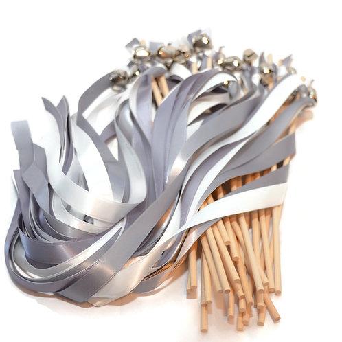 25 Mercury Gray & Off White Ribbon Bell Wedding Wands #WeddingWands #FairyWands