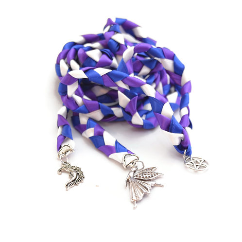 Divinity Braid 3 Charm Royal Purple Fairy Goddess Charm Wedding Handfasting Cord