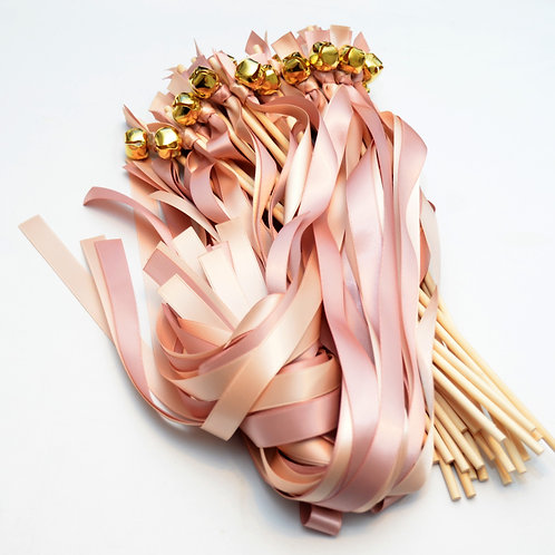 100 Ribbon Bell Wands Blush & Ballet #WeddingWands