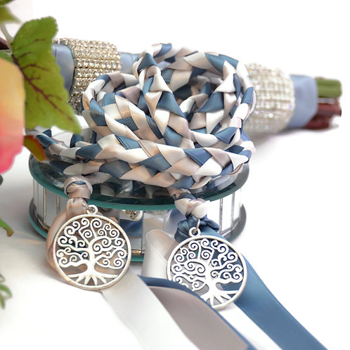 Steel Blue Silver Tree of Life Wedding Handfasting Cord #Wedding #Handfasting