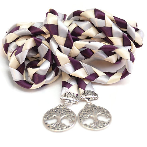 Plum Silver Elvish Tree of Life Wedding Handfasting 6ft Cord #Wedding
