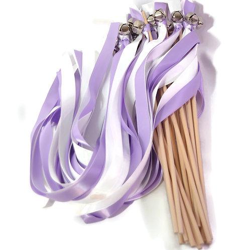 25 Lilac & Off White Ribbon Bell Wedding Wands #WeddingWands #FairyWands