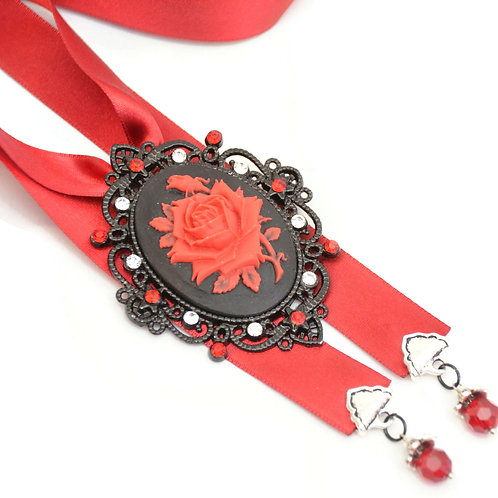OOAK Black & Red Rose Rhinestone Cameo Luxury Ribbon Necklace