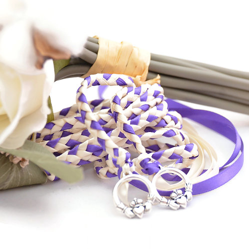 Ivory & Purple Celtic Claddagh Wedding Handfasting Cord #DivinityBraid #Wed