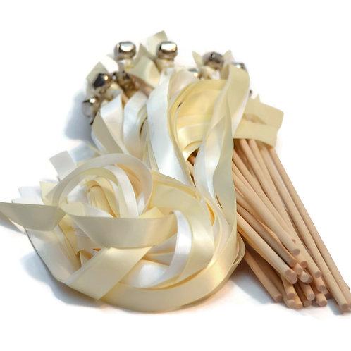 100 Ribbon Bell Wands White & Ivory  #WeddingWands