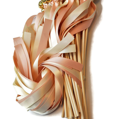 25 Blush Champagne & Ivory Ribbon Bell Wedding Wands #WeddingWands