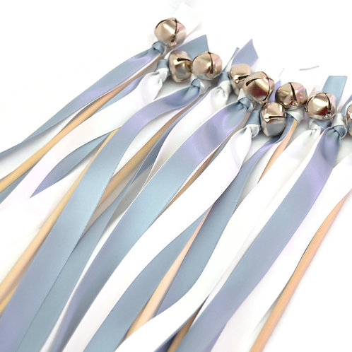 10 Dusty Blue & White Ribbon Bell Wedding Wands #WeddingWands