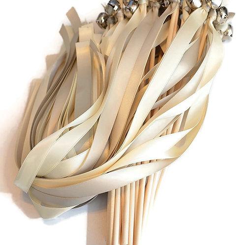 25 Platinum &  Ivory Ribbon Bell Wedding Wands #Wedding