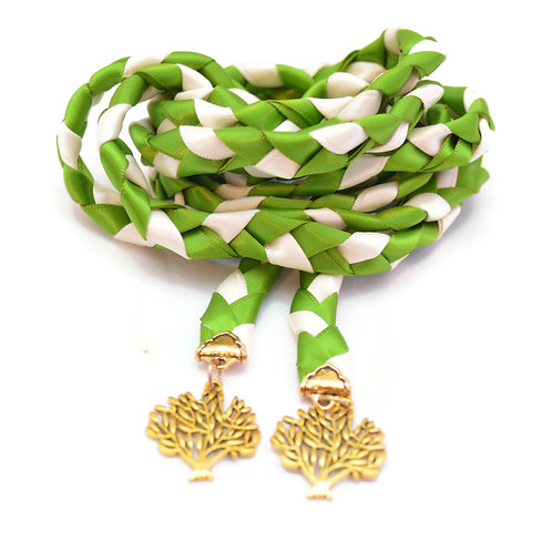Clover Leaf Green Gold Tree of Life Wedding Handfasting Cord #Wedding