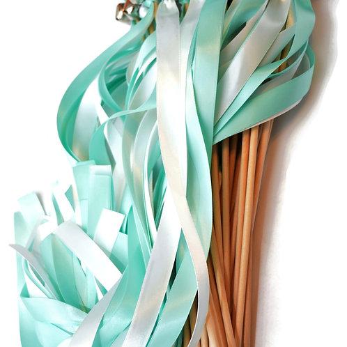 25 Aqua (Mint Blue) & White Ribbon Bell Wedding
