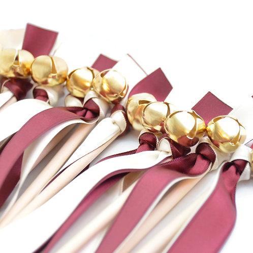 10 Burgundy & Ivory Ribbon Bell Wedding Wands #WeddingWands