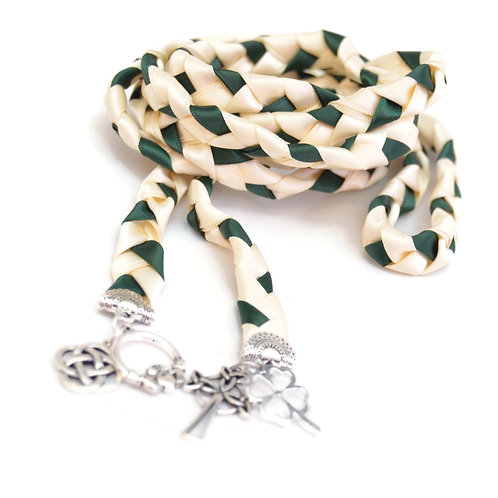 4 Charm Forest Green Celtic Wedding Handfasting 6ft Cord
