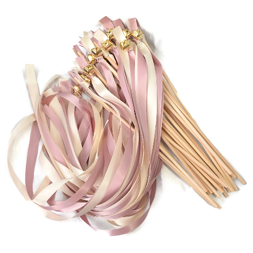 """100 Ribbon Bell Wands Rose""""GOLD"""" & Ivory"""