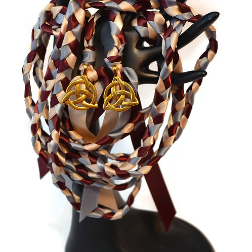 Burgundy Champagne Gold Celtic Triquetra Wedding Handfasting 9ft Cord #