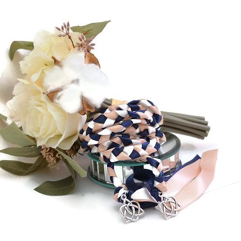 Navy Blush Silver Celtic Heart Wedding Handfasting Cord #Wedding