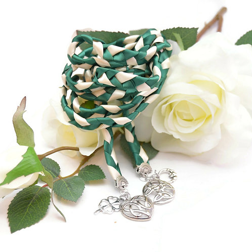 Divinity Braid 4 Charm Forest Green Wedding Handfasting 6ft Cord #Wedding