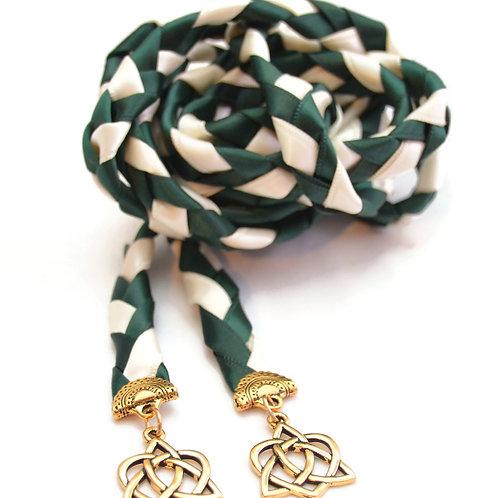 Hunter Green Gold Celtic Heart Knot Wedding Handfasting Cord
