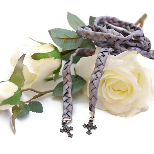 Divinity Braid Gunmetal Cross Wedding Handfasting Cord