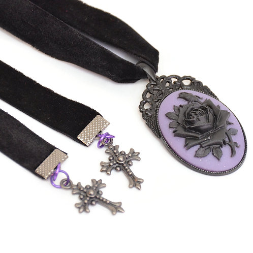 OOAK Purple Black Rose Cameo Velvet Ribbon Necklace