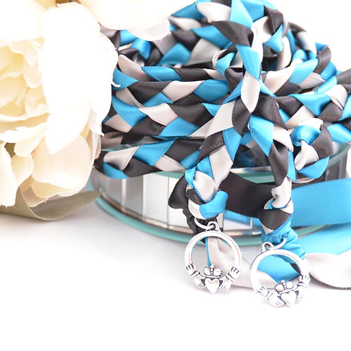 Turquoise Black Silver Celtic Claddagh Wedding Handfasting Cord