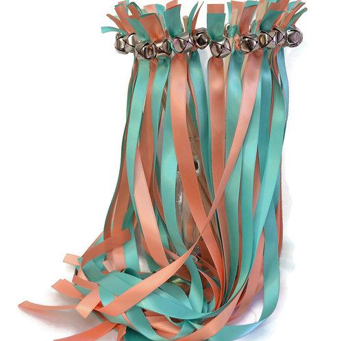 25 Salmon & Blue Mint Ribbon Bell Wedding Wands #WeddingWands