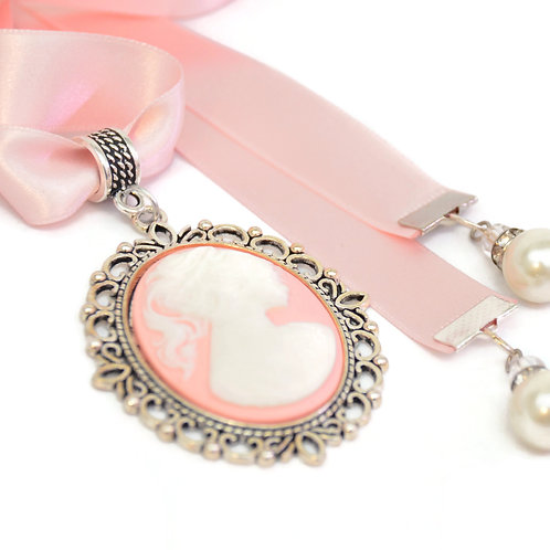 OOAK Victorian Pink Lady Cameo Luxury Ribbon Necklace