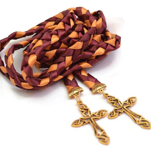 Divinity Braid burgundy &  Gold Celtic Cross Wedding Handfasting Cord