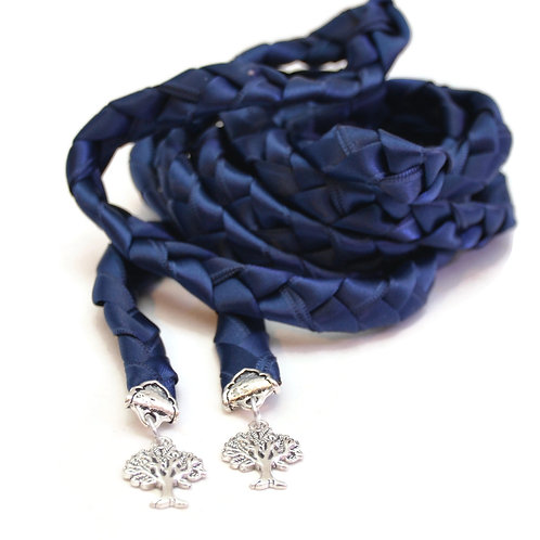 Navy Silver Tree of Life Wedding Handfasting 6ft Cord