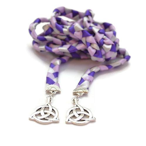 Divinity Braid Purple Silver Celtic Triquetra Wedding Handfasting Cord