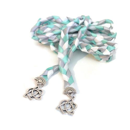 Blue Mint Silver Celtic Heart Wedding Handfasting Cord
