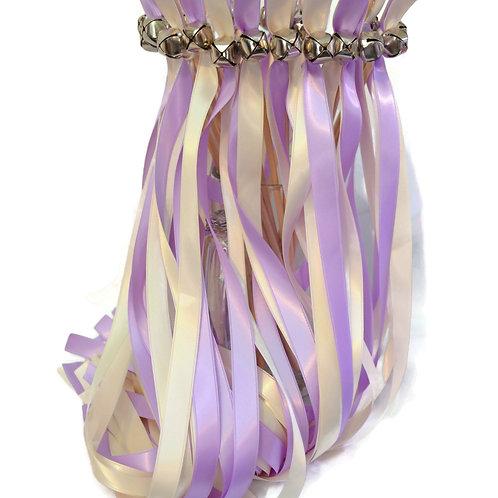25 Lilac & Ivory Ribbon Bell Wedding Wands #WeddingWands #FairyW