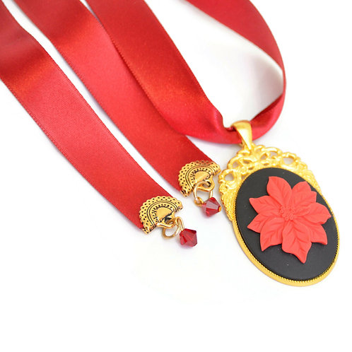 Limited Edition Poinsettia Cameo Luxury Ribbon Necklace