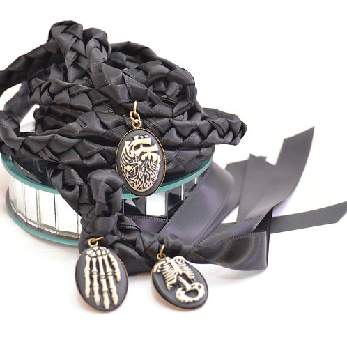 Limited Edition 3 Charm Halloween Pagan Wedding Handfasting Cord