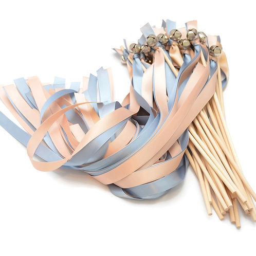 25 Blush Champagne & Dusty Blue Ribbon Bell Wedding Wands #WeddingWands
