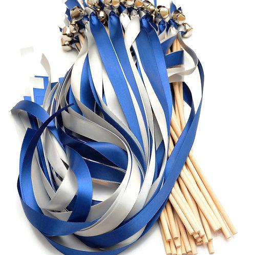 50 Ribbon Bell Wands Light Navy & Shell Gray #WeddingWands #FairyWands