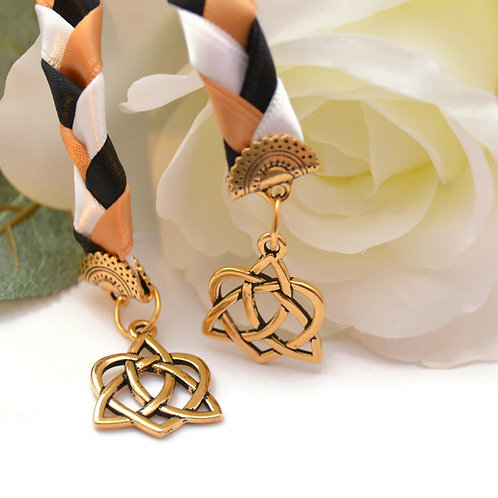 Black & Gold Celtic Heart Knot v5 Wedding Handfasting Cord #Wedding