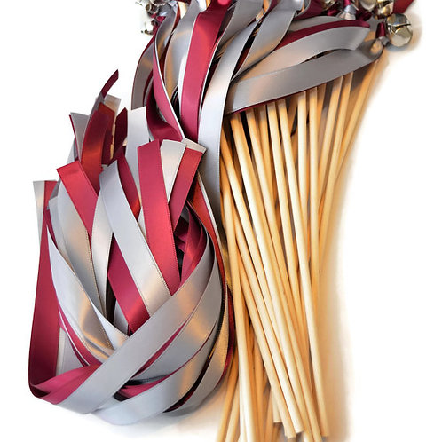 100 Ribbon Bell Wands Sangria & Gray  #WeddingWands