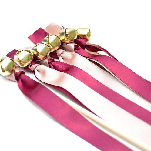 10 Ballet & Sangria Ribbon Bell Wedding Wands #WeddingWands