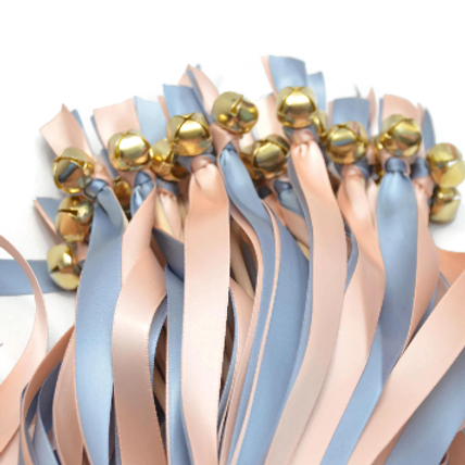 50 Ribbon Bell Wands Dusty Blue & Pale Peach #WeddingWands #FairyWands