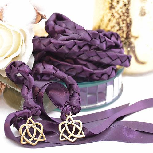 Plum/Eggplant Gold Wedding Handfasting Cord #DivinityBraid #Handfastin