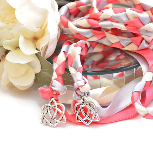 Coral Reef Silver Celtic Heart Wedding Handfasting Cord #Wedding