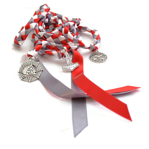 Red Theme 3 Charm Norse Theme Wedding Handfasting Cord  #Norse #Thor #Viking