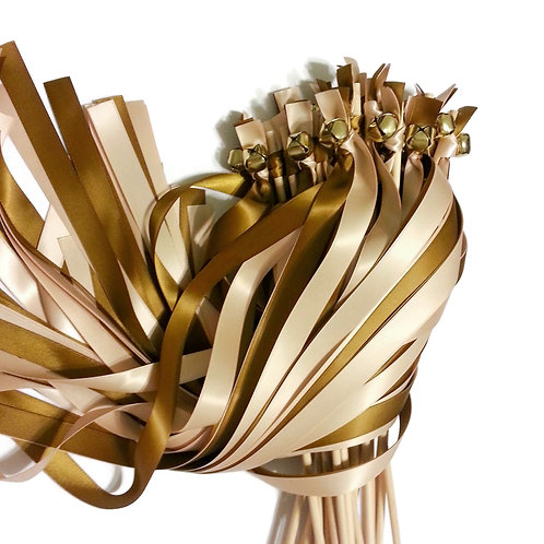 25 Blush & Antique Gold Ribbon Bell Wedding