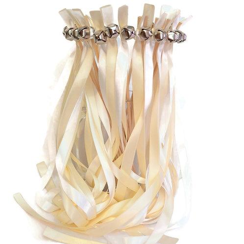 50 Ribbon Bell Wands White & Ivory    #WeddingWands #Fai