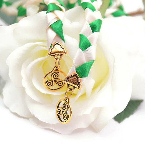Green & Gold Celtic Triskele Wedding Handfasting Cord